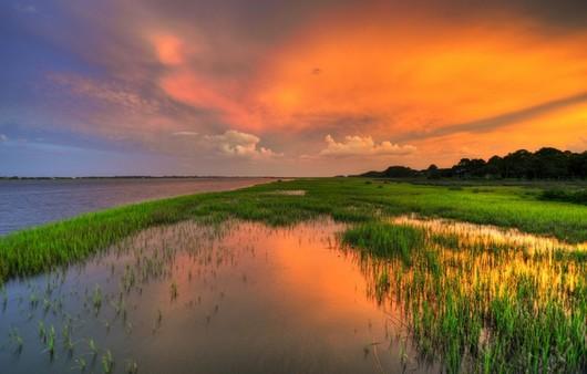 Фотообои Закат на закомшевелом озере