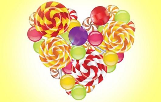Сердце из разноцветных карамелек