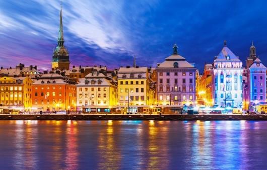 Фотообои Набережная в вечернем Стокгольме Швеция