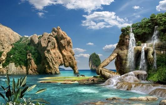 Мандарин картинка морского пейзажа с рукотворными скалами