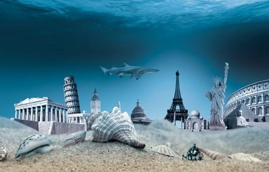 Подводный коллаж морского дна