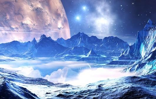 Озеро на планете в космосе