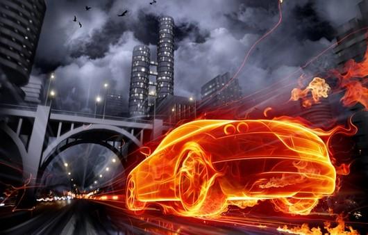 Графика огненный автомобиль