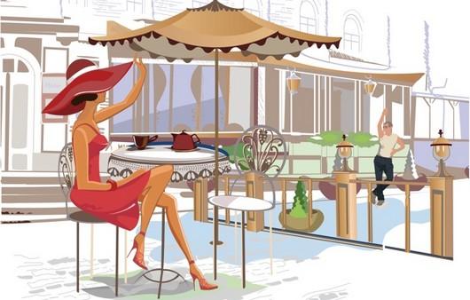 Картинка девушка в кафе