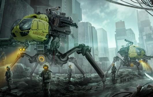 Фантастический город с солдатами разрушителями