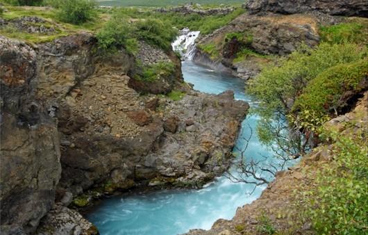 Горная река обросшая мелким кустарником