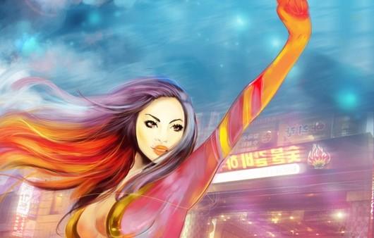 Арт рисунок девушка с поднятой рукой