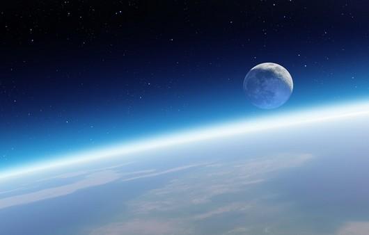 Светящаяся атмосфера над землёй вид из космоса