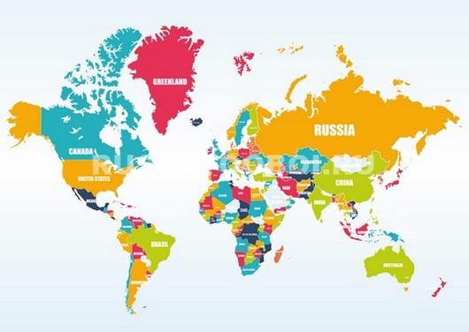 Фотообои Карта мира цветная