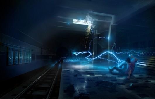Разряд тока в тёмном помещении