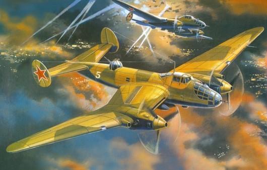 Рисунок двухмоторного бомбардировщика в небе