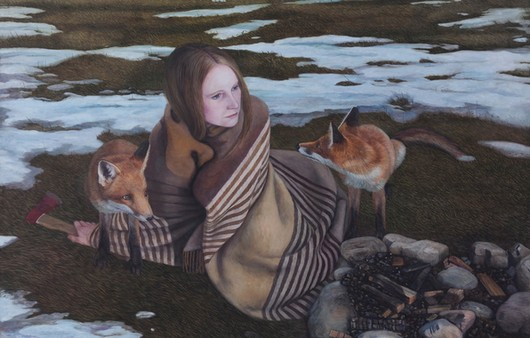 Картина Chrysler Karlstad,женщина с лисами
