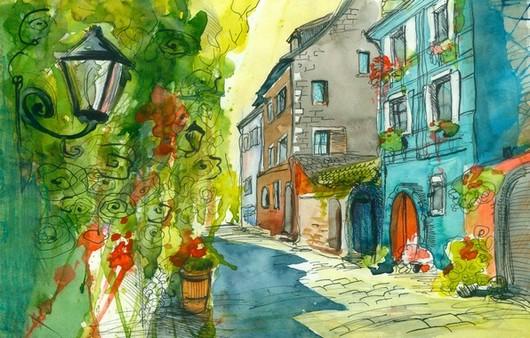 Картина акварелью улица города