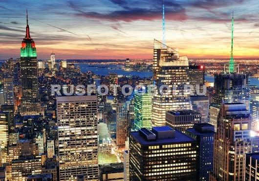 Прекрасный закат в Нью-Йорке