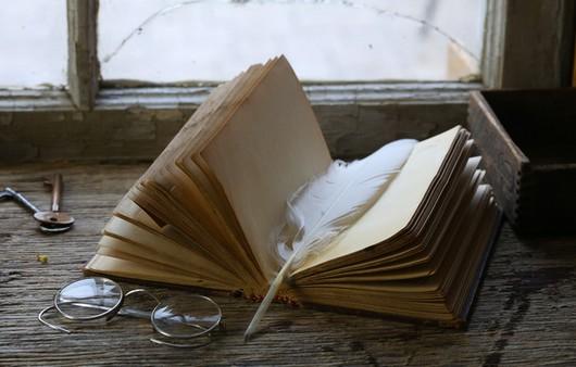 Открытая книга с пером и пенсне