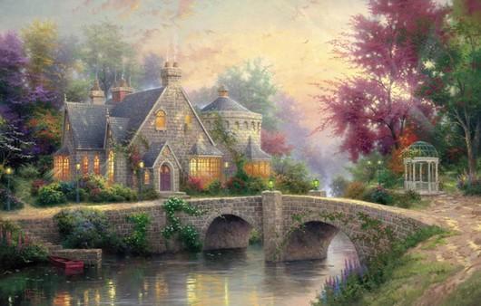 Живописная картина маслом ,домик на берегу пруда