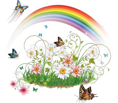 Фотообои Радуга над цветами