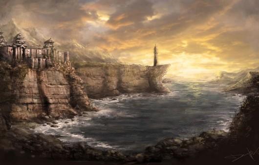 Японские горы и скалы  и маяк в бухте