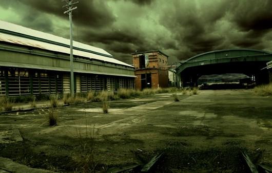 Фотообои Мрачные дождевые облака над гаражами