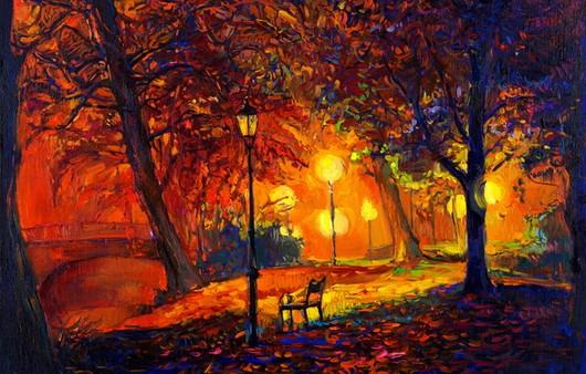 Картина ночной парк с фонарями