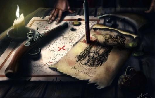 Пиратские карты и пистолет