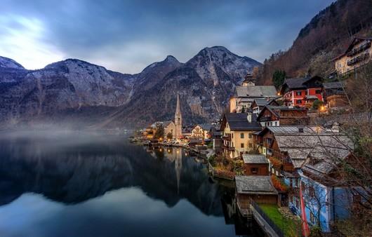 Тгальштат Альпы город на реке