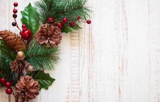 Фотообои Новогоднее украшение из сосны ,шишек и красных ягод