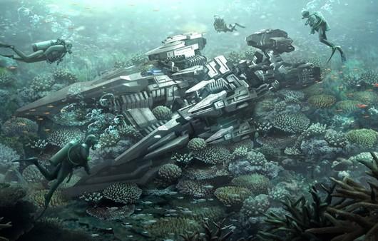 Фантастический подводный мир с рифами и дайверами