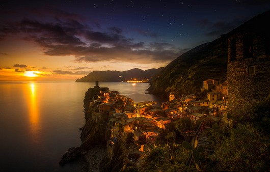 Вид со скал на вечерний горизонт