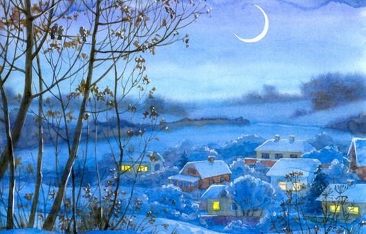 Акварельный рисунок зимняя деревня ночью