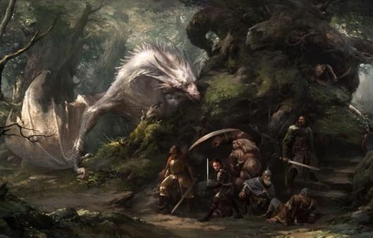Фантастический мир с драконами и воинами