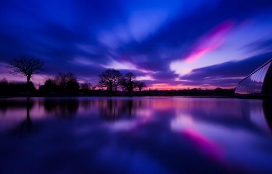 Закатное-полуночное небо в облаках