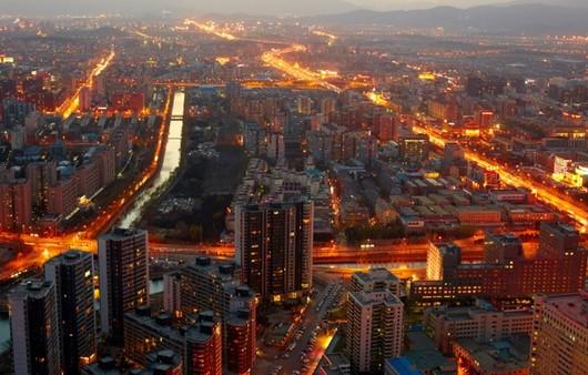 Пейзаж города Пекин с высоты небоскрёба
