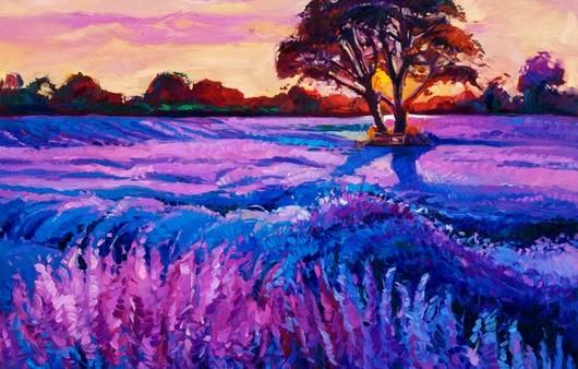 Живописная картина-цветение луга