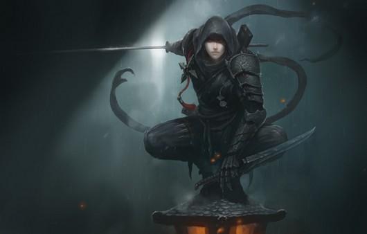 Фантастическая игра .девушка в капюшоне с мечом