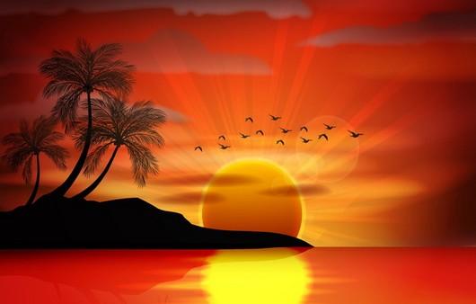 Тропический пейзаж  заходящего солнца