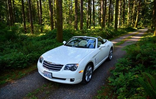 Белый кабриолет на лесной дороге