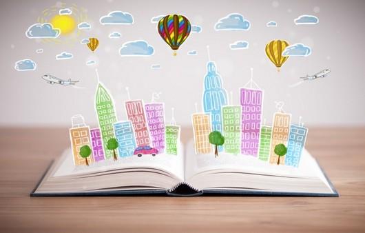 Книга с выдвижными картинками и вымышленными облаками