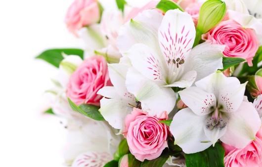 Фотообои Букет из белых и розовых цветов