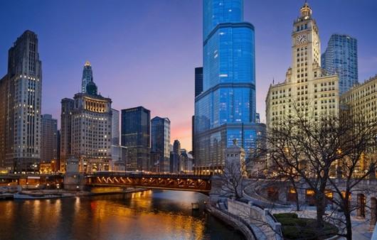 парк в Чикаго ночью