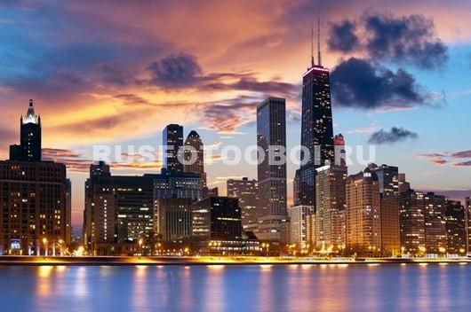 Фотообои Ночной город Чикаго