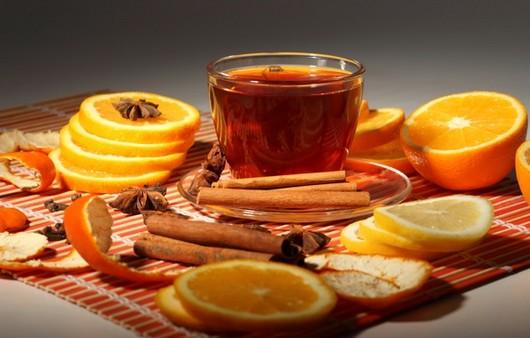 Фотообои чай с апельсином и корицей