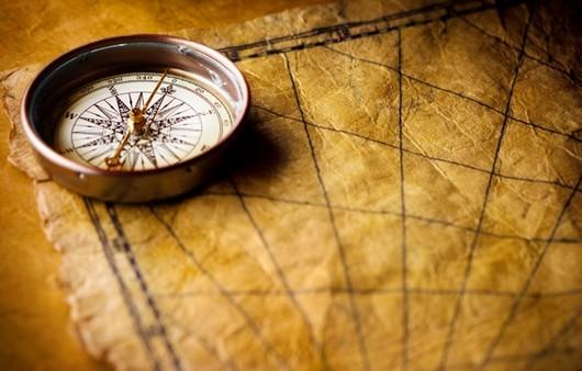 карта с морским компасом