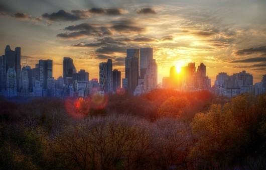 Фотообои закат в городе