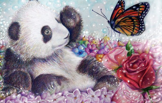 панда с бабочкой
