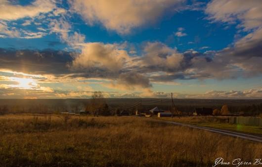 Фотообои деревня на закате