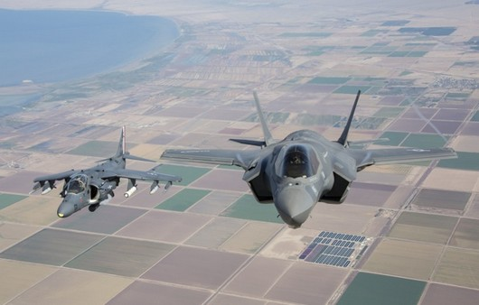 полет над землей F-35B
