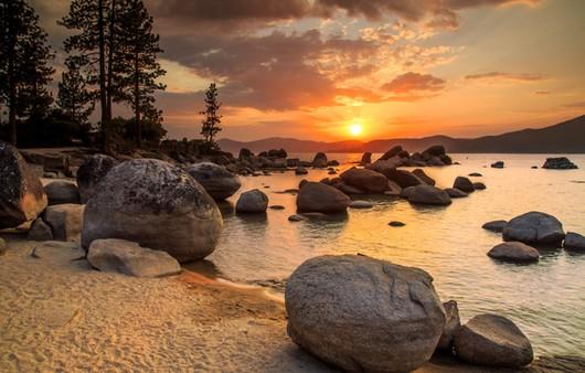 Фотообои закат на озере