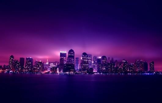 Фотообои фиолетовый город