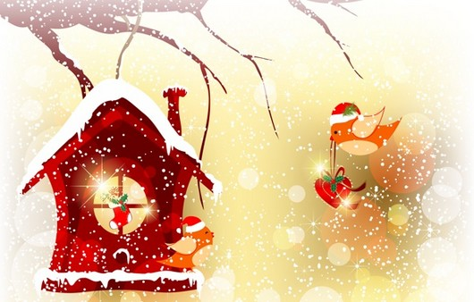 Фотообои домик новогодний